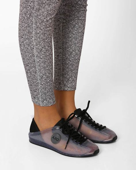 Flat Jelly Shoes With Lace-Ups By AJIO ( Black )