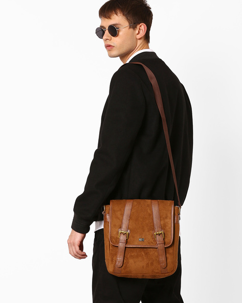 Messenger Bag With Buckle Closure By Atorse ( Tan )