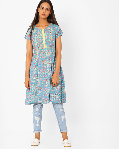 Floral Print A-line Kurta By AJIO ( Turquoise )