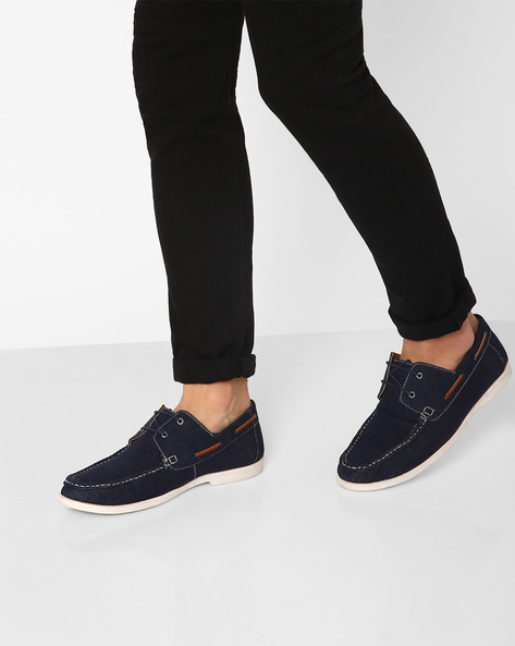 Lace-Up Casual Shoes By AJIO ( Blue )