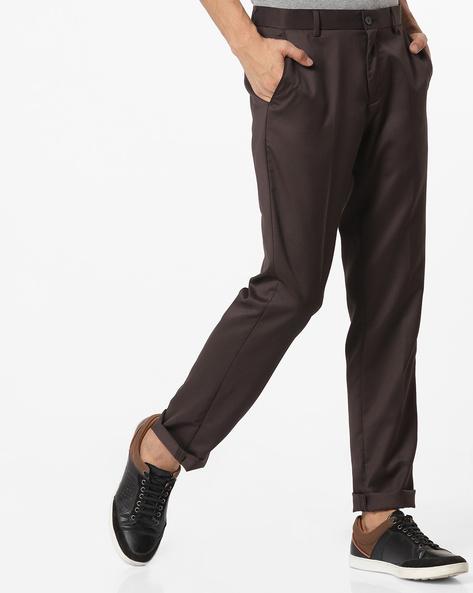 Textured Slim Fit Flat-Front Trousers By NETWORK ( Medgrey )