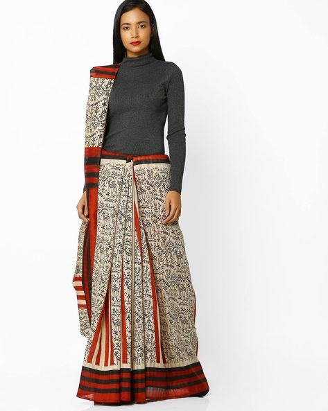 Printed Saree With Contrast Striped Border By Florence ( Rust )