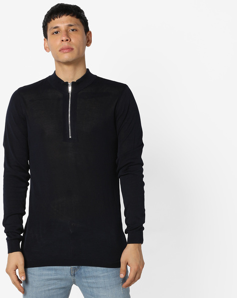 High-Neck Pullover With Front Zipper By Jack & Jones ( Navy )