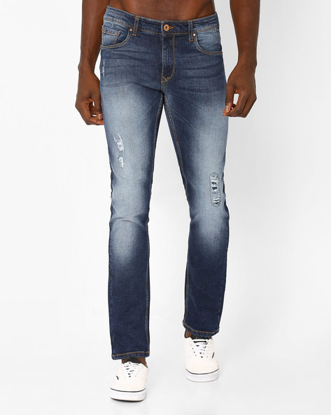 Mid-Washed Distressed Jeans By DNMX ( Mediumblue )