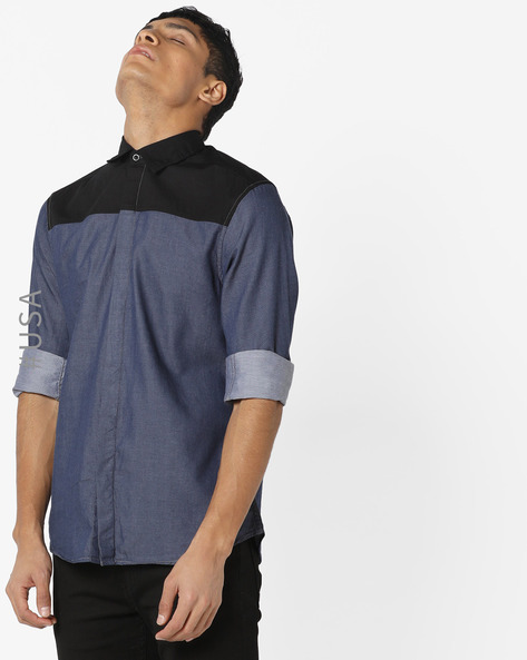 Cotton Shirt With Concealed Button Placket By AJIO ( Black )