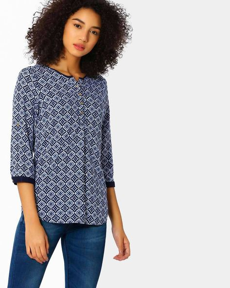 Printed Cotton Top With Curved Hem By KRAUS ( Blue )