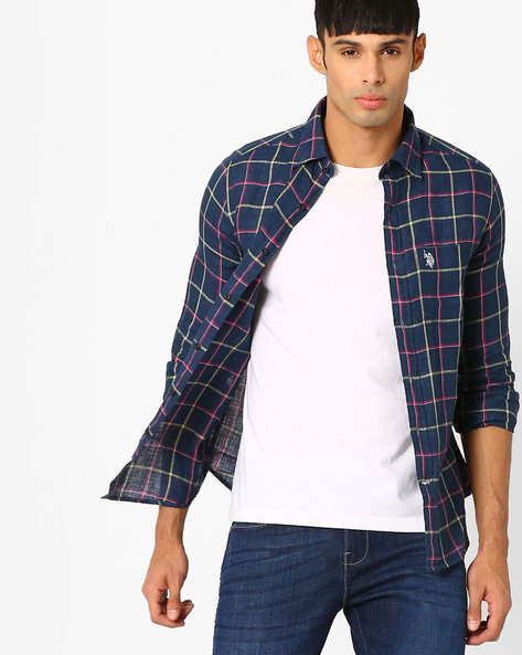 Checked Linen Shirt With Patch Pocket By US POLO ( Navy )