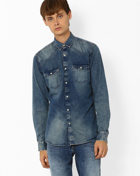 Slim Fit Washed Denim Shirt By ADAMO LONDON ( Lightblue )