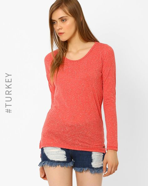 Heathered Crew-Neck T-shirt By Cross Jeans ( Pink )