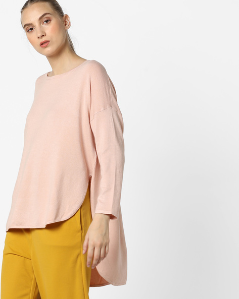 High-Low Pullover With Drop-Shoulder Sleeves By Vero Moda ( Bloodred )