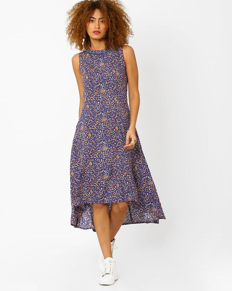 Floral Print High-Low Dress By AJIO ( Blue )