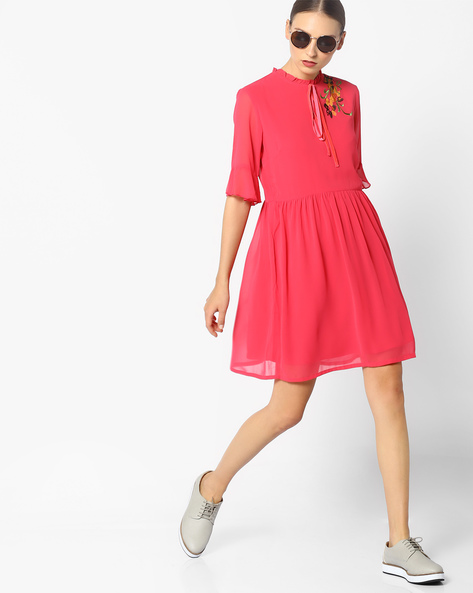 Fit & Flare Dress With Bell Sleeves By AJIO ( Coral )