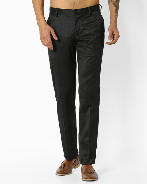 Slim Fit Textured Trousers By NETWORK ( Black )