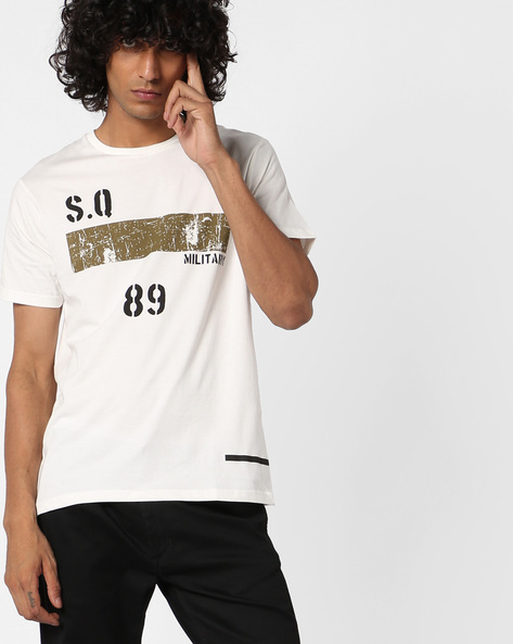Crew-Neck T-shirt With Placement Print By AJIO ( Offwhite )