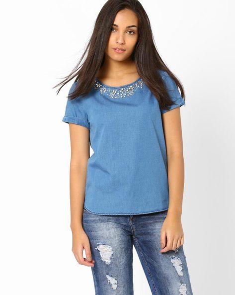 Embellished Denim Top By AJIO ( Blue )