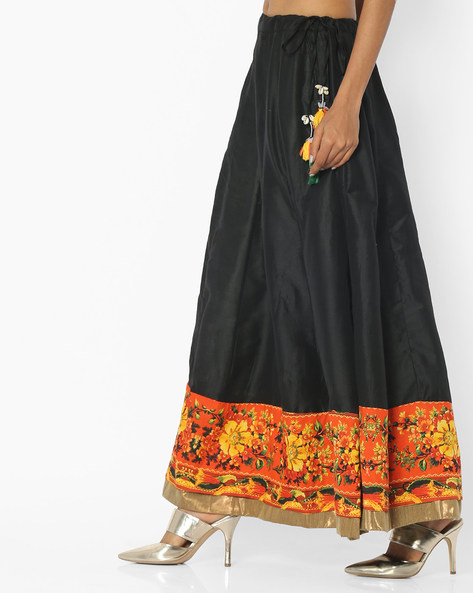 A-line Skirt With Tassel-Tie-Up By Rain & Rainbow ( Black )