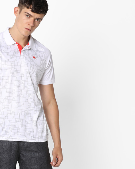QuickDry Printed Polo T-Shirt By PERFORMAX ( White )