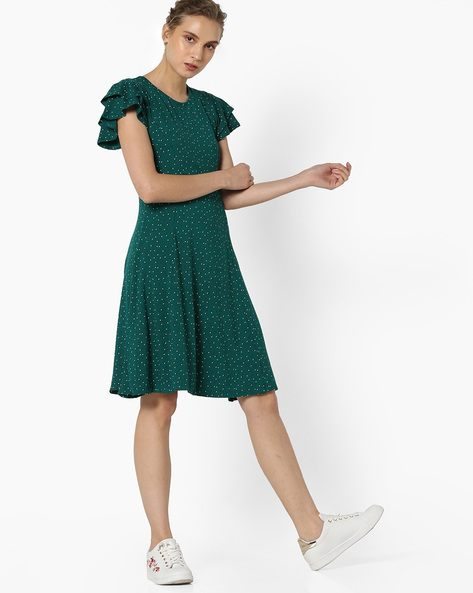 Printed Skater Dress With Ruffled Sleeves By UNITED COLORS OF BENETTON ( Multi )