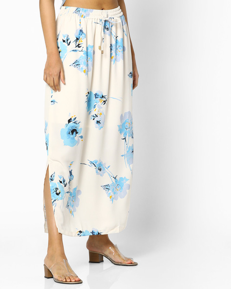 Floral Print Maxi Skirt With Elasticated Waist By PE WW Casual ( Offwhite )
