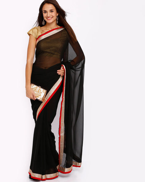 Chiffon Saree By Majestic Silk ( Black )