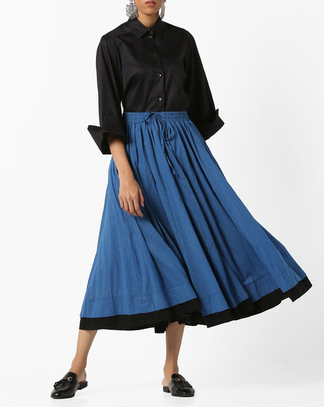 Dot Print Flared Maxi Skirt By Project Eve IW Casual ( Indigo )