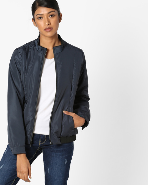 Bomber Jacket With Insert Pockets By Fort Collins ( Navyblue )