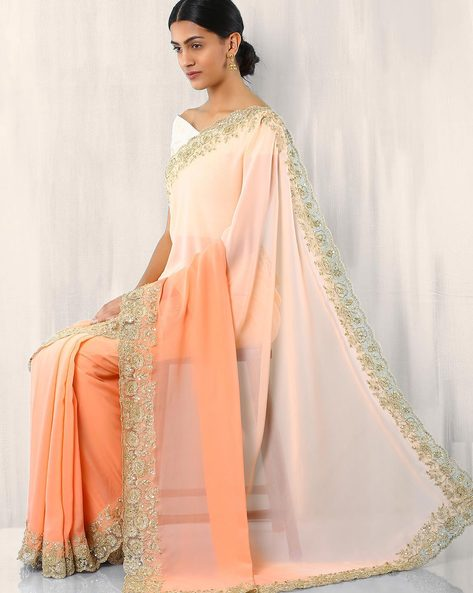 Zari Embroidered Pure Silk Saree By Rudrakaashe-MSU ( Orange )