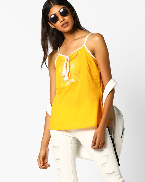 Printed Strappy Top With Lace-Up Fastening By AJIO ( Yellow )