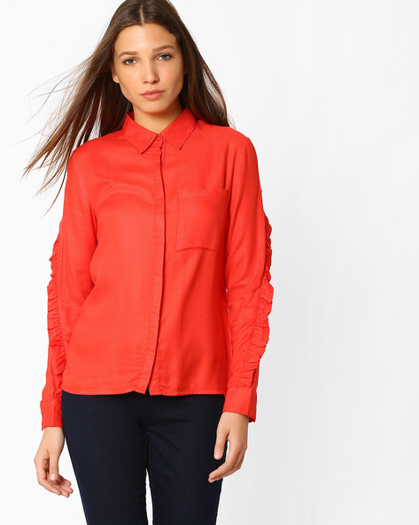 Collared Top With Ruffles By Femella ( Red )