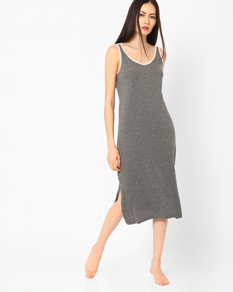 Sleeveless Night Dress By Slumber Jill ( Charcoal )
