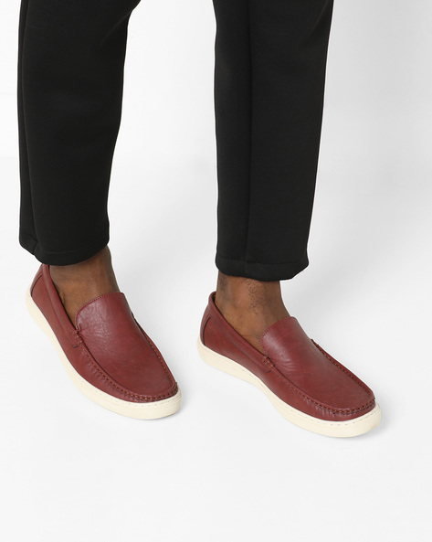 Textured Slip-Ons With Moc-Stitched Upper By Spunk ( Maroon )
