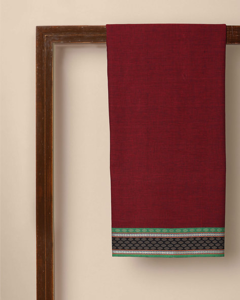 South Cotton Kurta Fabric With Woven Border By Indie Picks ( Maroon ) - 460147566001