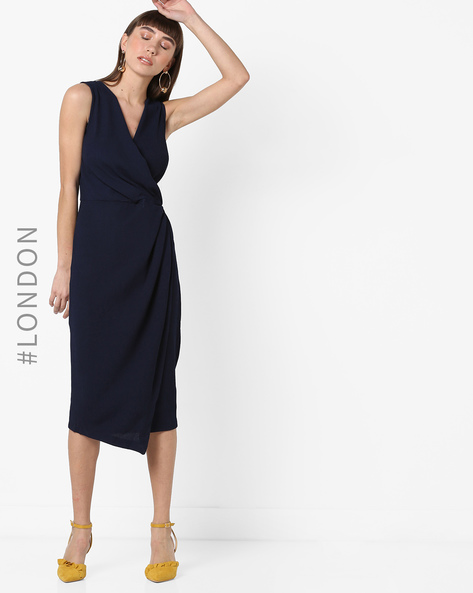 Sleeveless Sheath Midi Dress By Closet London ( Navyblue )