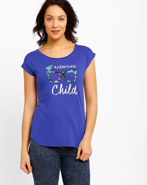 Graphic Print T-shirt By AJIO ( Blue )