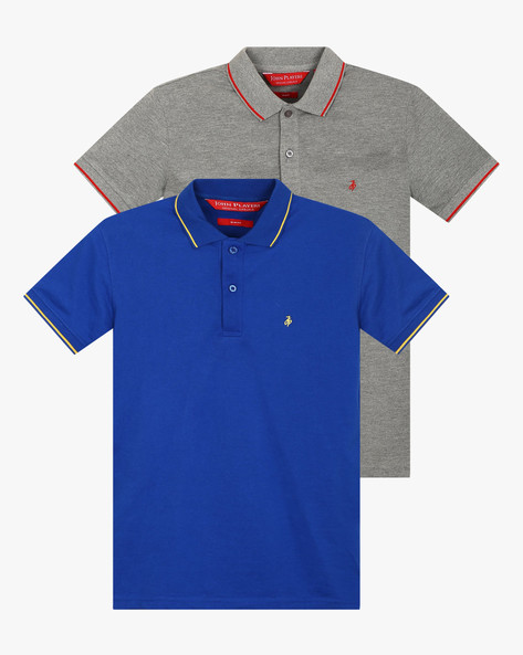 Pack Of 2 Pique Knit Polo T-shirts By JOHN PLAYERS ( Multi ) - 460047598004