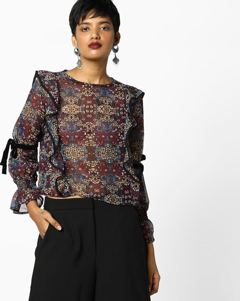 Ruffled Top With Tie-Ups By AJIO ( Black )