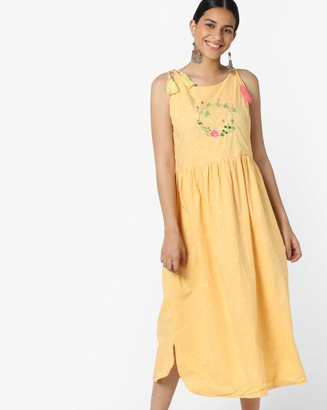 Polka-Dot Fit & Flare Dress By AJIO ( Yellow )