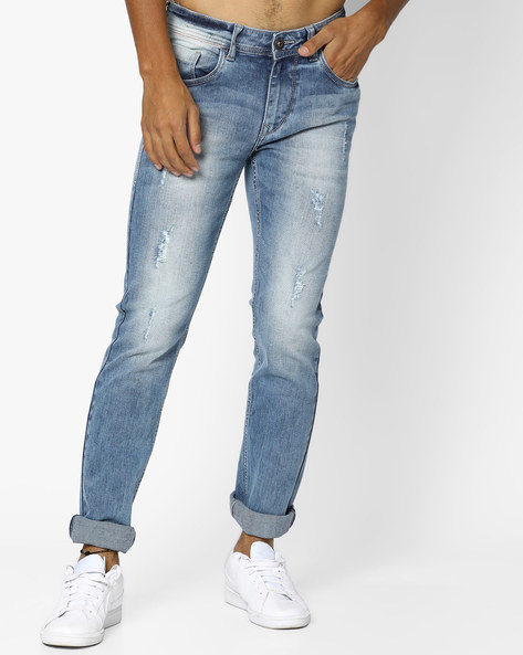 Mid-Rise Distressed Slim Fit Michael Jeans By FLYING MACHINE ( Blue )