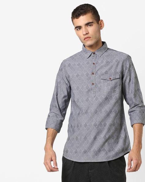 Cotton Shirt With Flap Pocket By AJIO ( Black )
