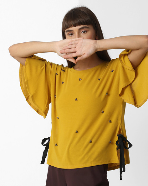 Embellished Drop-Shoulder Top With Bell Sleeves By Ginger By Lifestyle ( Yellow )