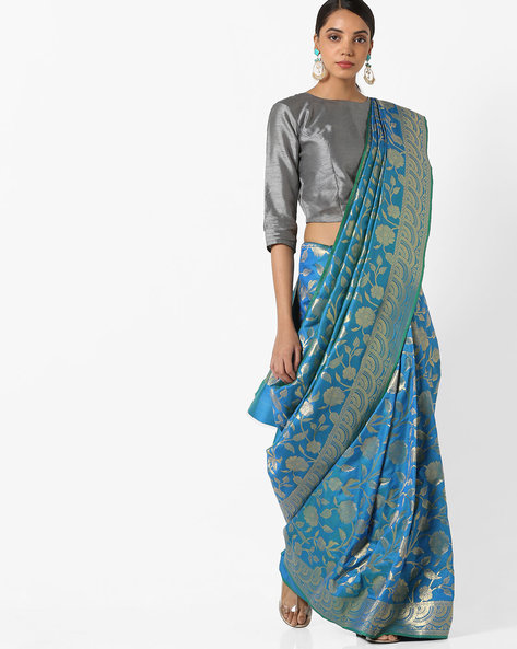 Banarasi Woven Saree With Zari Border By Parmita ( Blue )