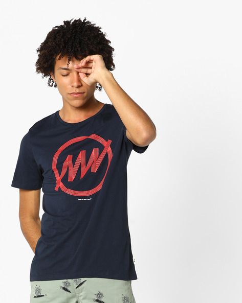 Graphic Print Slim Fit T-shirt By Jack & Jones ( Sblue )