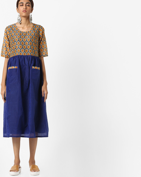 Printed Fit & Flare Midi Dress By AJIO ( Navyblue )