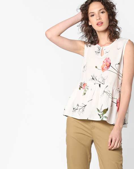 Floral Print Peplum Top By PE WW Casual ( Offwhite )