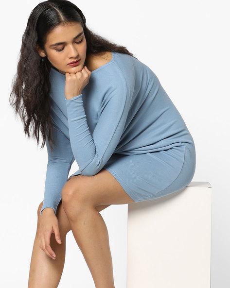 Rib-Knit Sheath Dress With Dolman Sleeves By AJIO ( Blue )