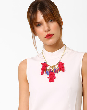 Drop Necklace with Tassels