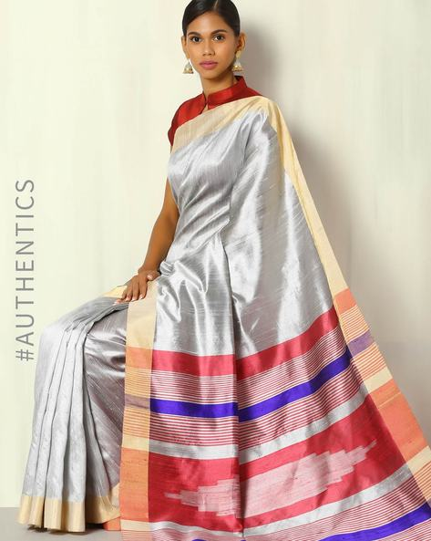 Handwoven Pure Silk Dupion Saree With Striped Pallu By BANASURI ( Grey )