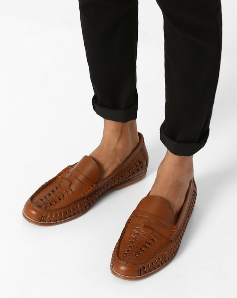 N9-Treated Woven Leather Loafers By AJIO ( Tan )