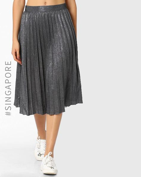 Gliitery Midi Skirt By MDS ( Silver )