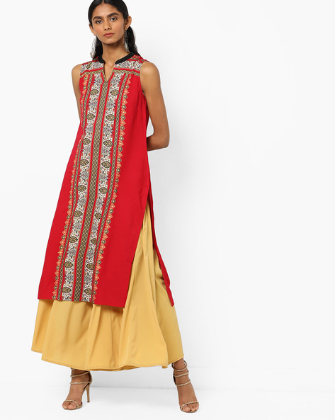 Sleeveless Printed Straight Kurta By AURELIA ( Red )